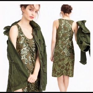 J. Crew olive green sequin dress